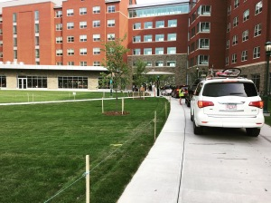 New students moving into the residential hall attached to Central Campus Dining.
